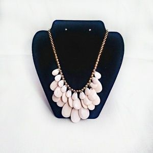 Gold Tone and Pink Statement Necklace